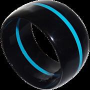 Vintage Wide Black Lucite Bangle Bracelet with Blue Stripe
