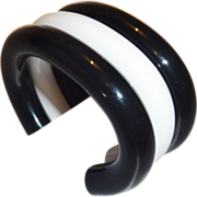 SALE Vintage 1980's Judith Hendler RARE Black and White Lucite Cuff Bracelet