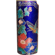 Vintage Blue Cloisonne Enamel Lighter Cover MINT