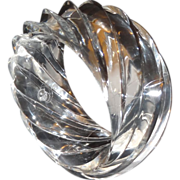Vintage HUGE Molded Spiral Clear Lucite Bangle Bracelet Made in Western Germany