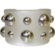 WIDE Frosted Lucite Cuff Bracelet with Silvertone Metal Studs