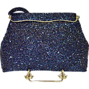 SALE Blue Carnival Glass Beaded Bag