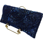 SOLD Vintage Iridescent Blue Glass Beaded Clutch Purse