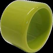 Vintage Chunky Wide Lime Green Lucite Bangle Bracelet