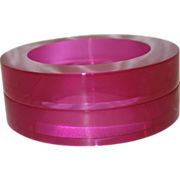 SALE Vintage Estee Lauder Hot Pink Lucite Sliced Bangles