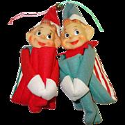 SALE Pair of Vintage Knee-Hugger Elves in Striped Suits