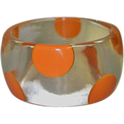 SALE Vintage Clear Lucite Bracelet with Orange Polka Dots