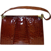 SALE Gorgeous Cognac Alligator Skin Frame Handbag