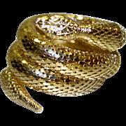 SALE Vintage Whiting and Davis Gold Tone Metal Mesh Snake Wrap Bracelet