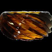 SALE Vintage HUGE Spiral Transparent Faux Tortoiseshell Lucite Bracelet Made in Western German