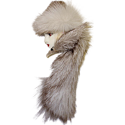 SALE Glamorous Lady Face Pin with Mink Hat and Mink Wrap