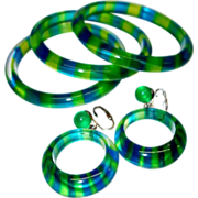 SALE Vintage Blue and Green Cased Transparent Striped Lucite Bangles and Earring Set