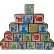 SALE 40 Vintage Assorted Wooden ABC Blocks