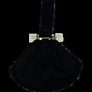 SALE Elegant Vintage Black Velvet Pouch Bag with Lucite Trim