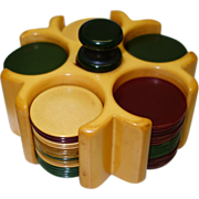 SALE Vintage Mini Bakelite Poker Carousel and Chips