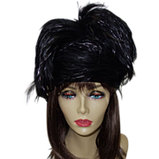 SALE Vintage Black Feather Hat by Jack McConnell with Original Tag