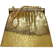 SALE Whiting and Davis Structured Gold Tone Metal Mesh Purse with Rhinestone Accents
