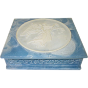 SALE Vintage Blue Incolay Stone Hinged Jewelry Box