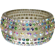 Vintage Wide Clear Lucite Bangle Bracelet with Aurora Borealis Rhinestones