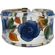 SALE Stunning Floral Reverse Carved Lucite Bracelet Made in Paris by Jose Cotel
