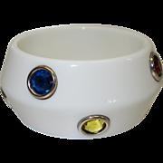 SALE Vintage White Lucite Bracelet with Bezel Set Rhinestones by RJ Graziano