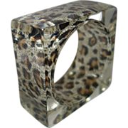 SALE Vintage Clear Square Lucite Bracelet with Encased Animal Print