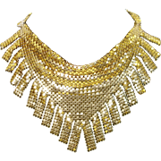 SALE Vintage Whiting and Davis Gold Tone Metal Mesh Fringed Bib Necklace
