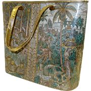 SALE Large Delill 1960's Quilted Asian-Themed Bucket Purse with Attached Gold Lame` Evening Ba