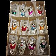 SALE Vintage Box of 12 Glass Teddy Bear Christmas Ornaments Made in Czechoslovakia