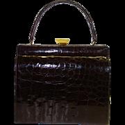 SALE Glossy Dark Brown Framed Alligator Purse by Bellestone MINT