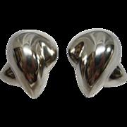 SALE Patricia Von Musulin Modernist Sterling Silver Clip Earrings