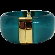 Vintage Moonglow Teal Hinge Bracelet