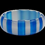 Vintage 1960's Blue and White Striped Cased Lucite Bangle Bracelet