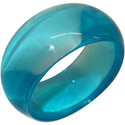 SALE Wide Transparent Teal Lucite Bangle Bracelet