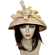SALE Vintage Woven Hat Fine Millinery Collection by August Accessories