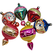 SALE 6 Large Fancy Poland Finial Blown Glass Christmas Ornaments