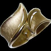 Vintage Crown Trifari Brushed Gold Tone Metal Bypass Bracelet