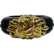 SALE Vintage Unsigned Inna Cytrine Paris Black Lucite Hinge Bracelet
