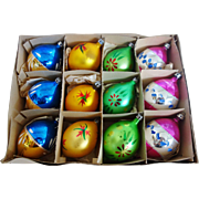 SALE Vintage Box of 12 Poland Fantasia Teardrop Christmas Ornaments