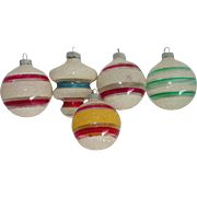 SALE Five Shiny Brite Unsilvered Mica Christmas War Ornaments
