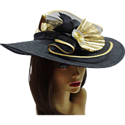 SOLD Dramatic Sonni San Francisco Black Woven Hat with Gold Lame`