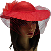 SALE Vintage Bright Red Woven Hat by Sonni San Francisco