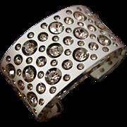 SALE Vintage Cased White Lucite and Rhinestone Cuff Bracelet