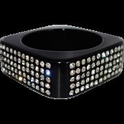 Vintage Black Square Lucite Bracelet with Embedded Rhinestones