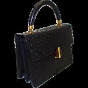 SALE Vintage Harry Rosenfeld Black Embossed Ostrich Print Leather Purse