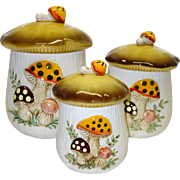 SOLD Vintage Sears and Roebuck's Merry Mushroom Canister Set c. 1983