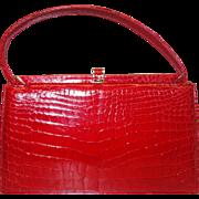 Vintage RARE Stunning Red Porosus Crocodile Frame-Bag by Lucille de Paris for I. Magnin & Co.