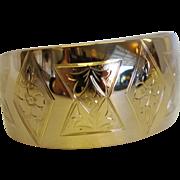 SALE Stunning Vintage Etched 18K Cuff Bracelet Signed