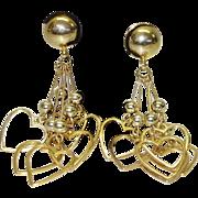 Vintage Dangling Heart Shoulder Duster Clip-On Earrings