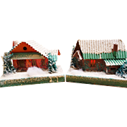 Five Vintage 1930's Cardboard Christmas Putz Houses